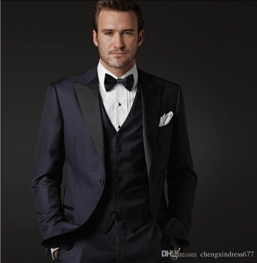 The latest high quality groom wedding suit navy color ...