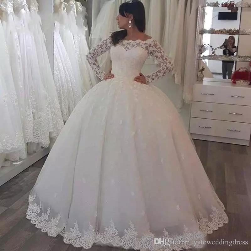 2017 Bateau Vestidos de novia Mangas largas con apliques de encaje Vestidos de novia A-Line Custom Hecho atrás Cremallera Piso-longitud elegante vestidos nupciales