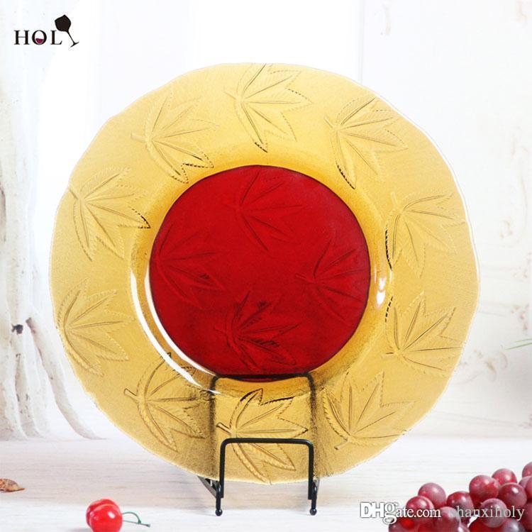 """HOLY neues Design handgefertigt 13 """"hohe Qualität Runde gelbe und rote Rand Dekorationen Glasplatte"""
