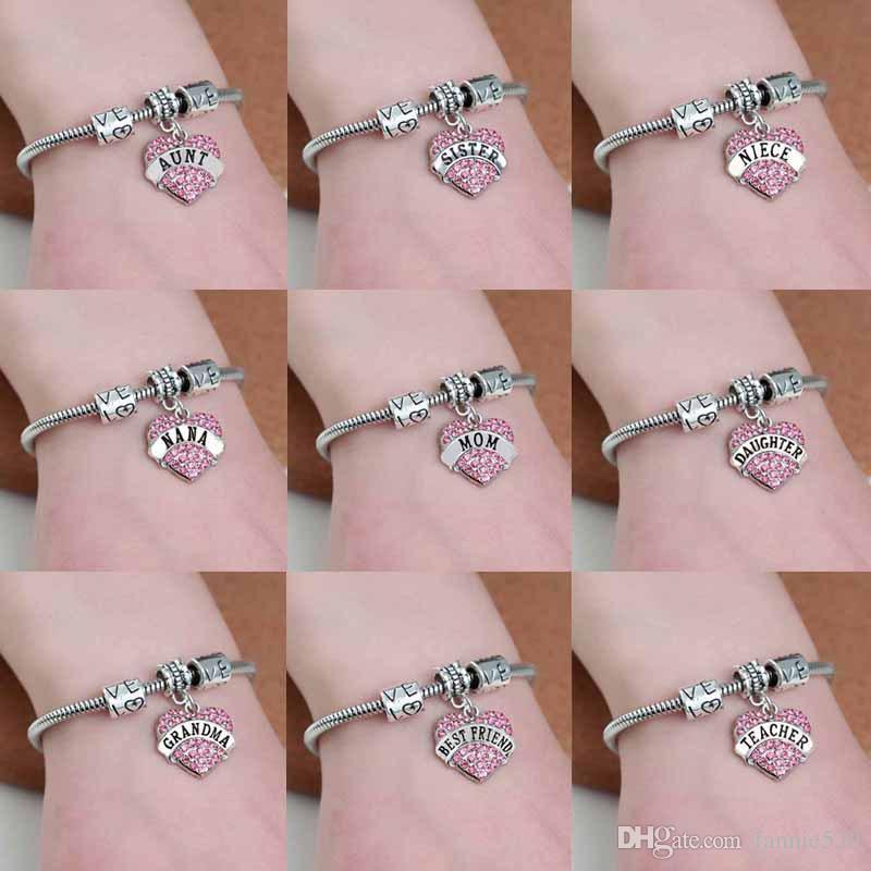 Family Mom Sister Daughter Bracelet Hope Heart Shape Beads Crystal snake chain For Women 18+5cm letter mimi nana teacher bracelets bangle