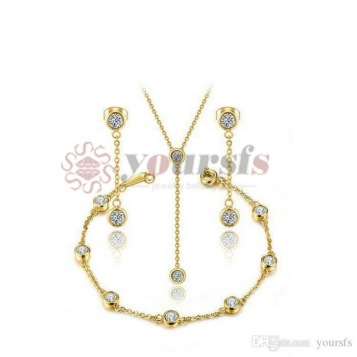 Yoursfs color oro colore infinito fascino collana braccialetto orecchini set set in acciaio inox in acciaio inox infinito gioielli gioielli set gioielli set