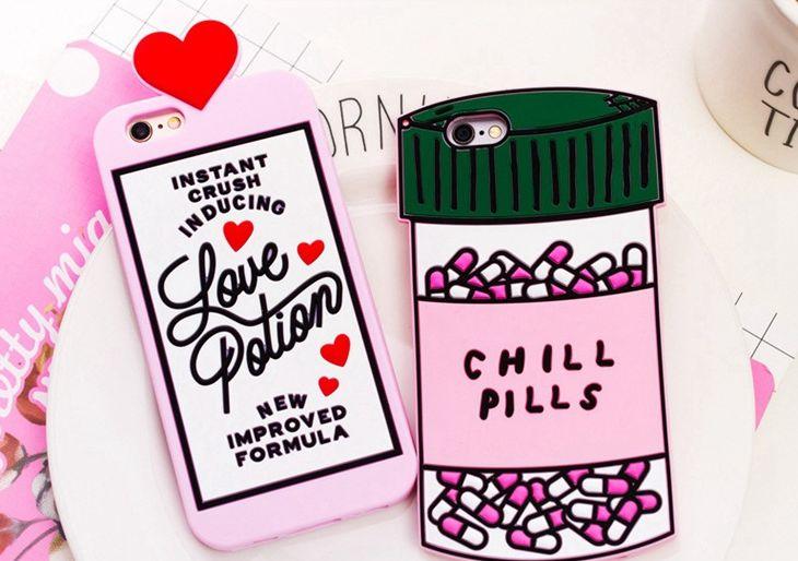 Chill Pills Love Potions Funda de silicona Cubierta posterior del teléfono para el iphone 7 5 se 6 6 s más S7 nota 4 3D suave