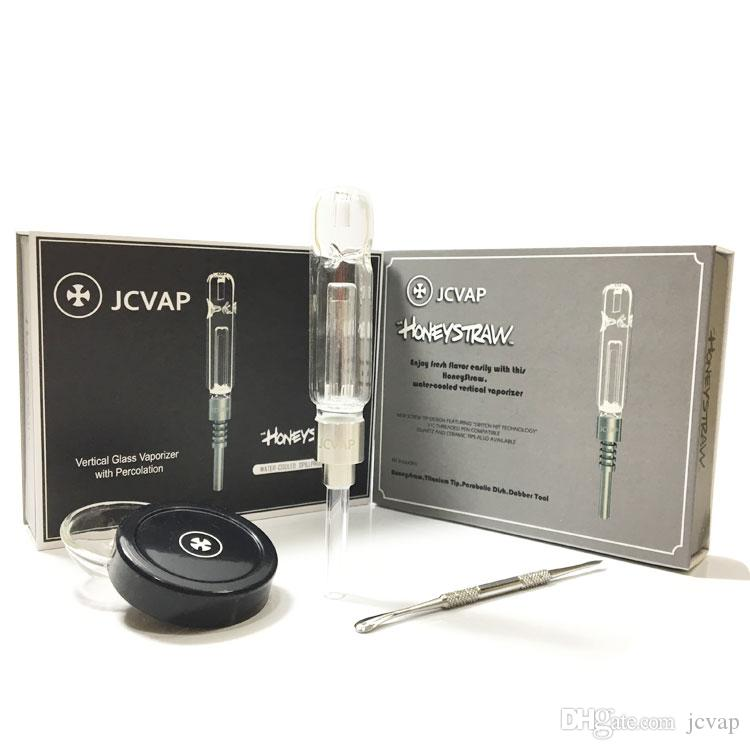 티타늄 네일 세라믹 또는 석영 팁 미니 유리 파이프 오일 조작 빨대 키트 금연 파이프 JCVAP HoneyStraw