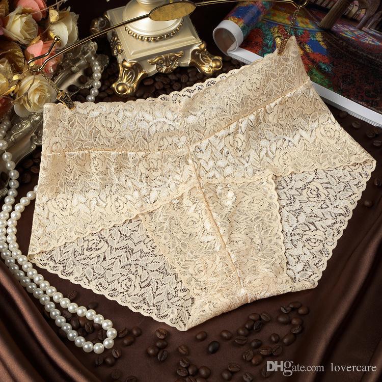 Sexy lingerie transparent lace in the waist ladies underwear cotton crotch shape women's underwear wholesale 7 color