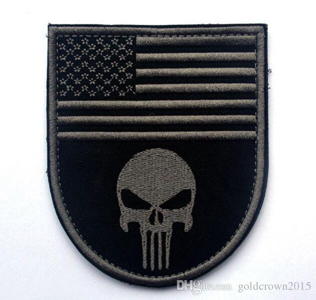 VP-61 US FLAG 3D Embroidered Pacthes Punisher skull Patch with stick Skull Armband military patch sew on patch