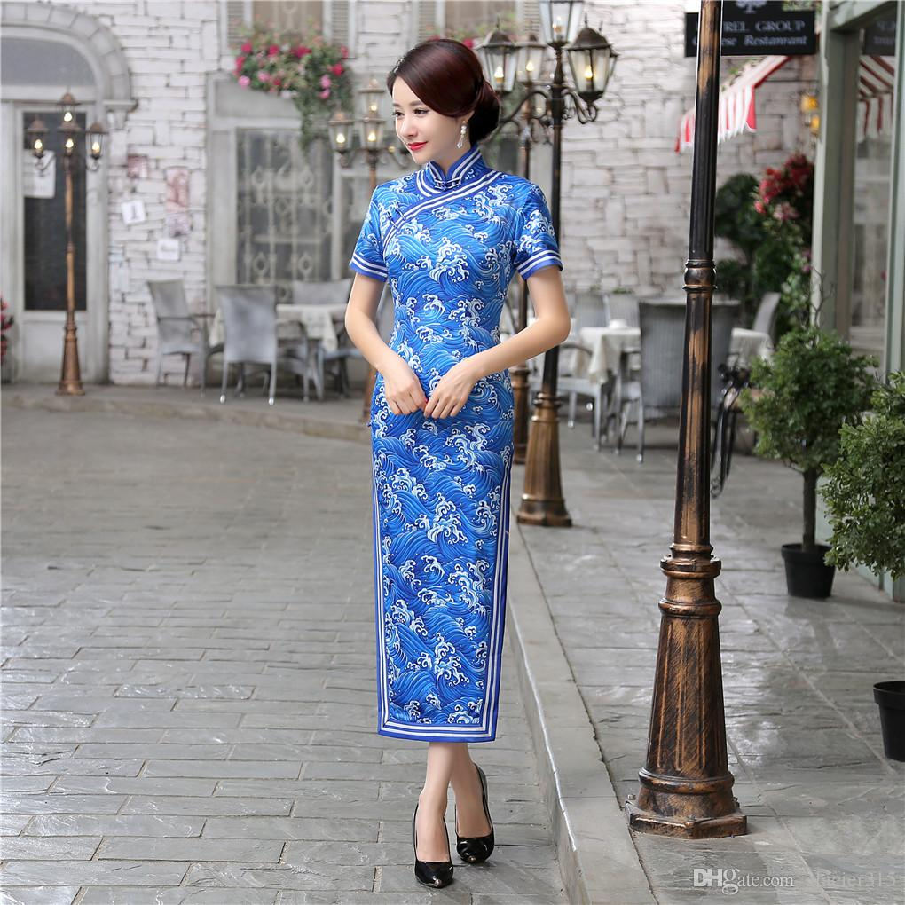 상하이 스토리 챠밍 레트로 중국어 여성 가을 겨울 벨벳 Cheongsam 드레스 QiPao 긴 파티 착용 Cheongsams 드레스 여성 레이디