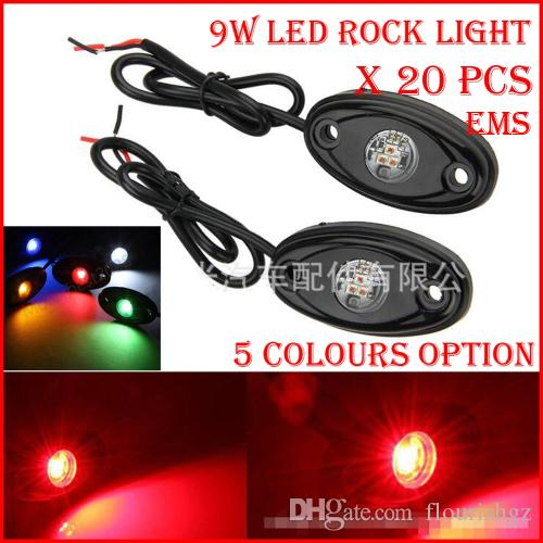 "EMS 20PCS (10 pares) 3 ""9W 3x3W Cre LED Rock Light Off-Road ATV 4x4 Camión Remolque Fender Rig Underbody Puddle Light 800lm Blanco / Rojo / B / G / Y"
