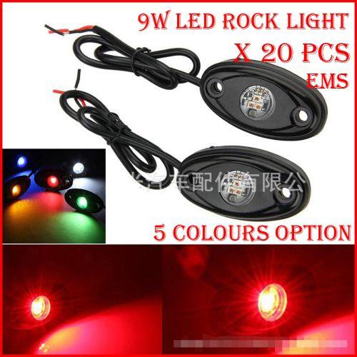 """EMS 20PCS (10 пар) 3"""" 9W 3x3W Cre LED Rock Light Off-Road ATV 4x4 грузовик прицеп крыло буровой установки днище лужа свет 800lm белый /красный /B /G/Y"""