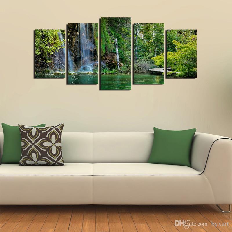 Wasserfall Gemälde, Landschaft Leinwanddruck Moderne Malerei Landschaft  Leinwand Wandbild Für Wohnzimmer Wand Decor Home Decor ...