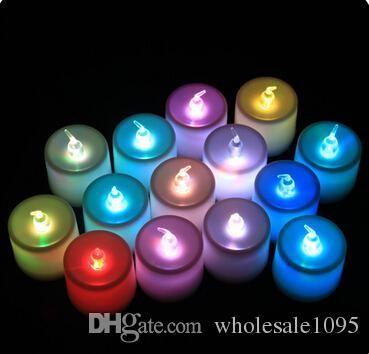 960 pcs Livre DHL Belo Design Led 7 Mudança de Cor Cintilação Sem Chama Luz Tealight Velas Festa de Casamento Decoração de Natal Lâmpada