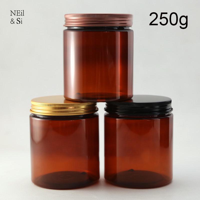 Brown Plastic 250g Kosmetische Creme Flasche Nachfüllbare Körperlotion Jar Leere Gesichtsmaske Vorratsbehälter Freies Verschiffen