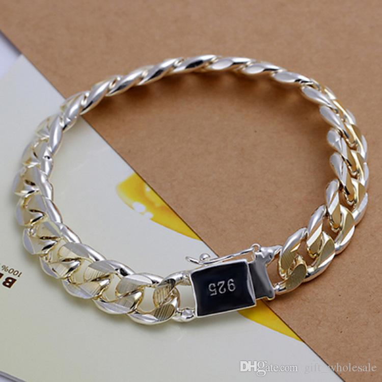 925 silver plated Figaro chain bracelet Golden Silver fashion jewelry for men free shipping 2 colors for choices