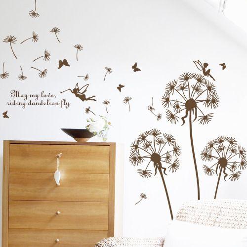 """""""Mariposa volando en diente de león"""" Dormitorio Pegatinas de salón Estilo Pegatinas de pared Diseño PVC Etiquetas de la pared Arte Vinilos Paredes Decoración moderna"""