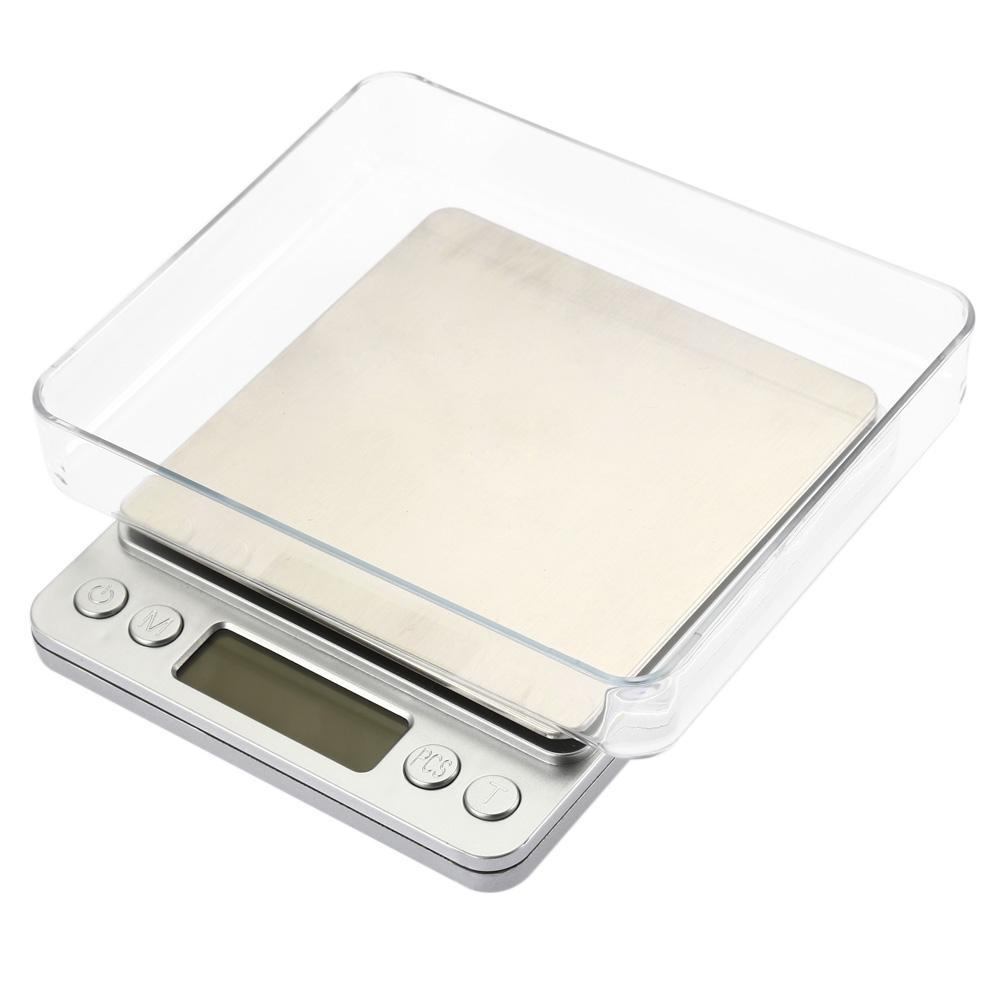 2,000g / 0.1g의 디지털 규모 주방 조리 측정 도구 스테인레스 스틸 전자 무게 LCD 전자 벤치 무게 규모