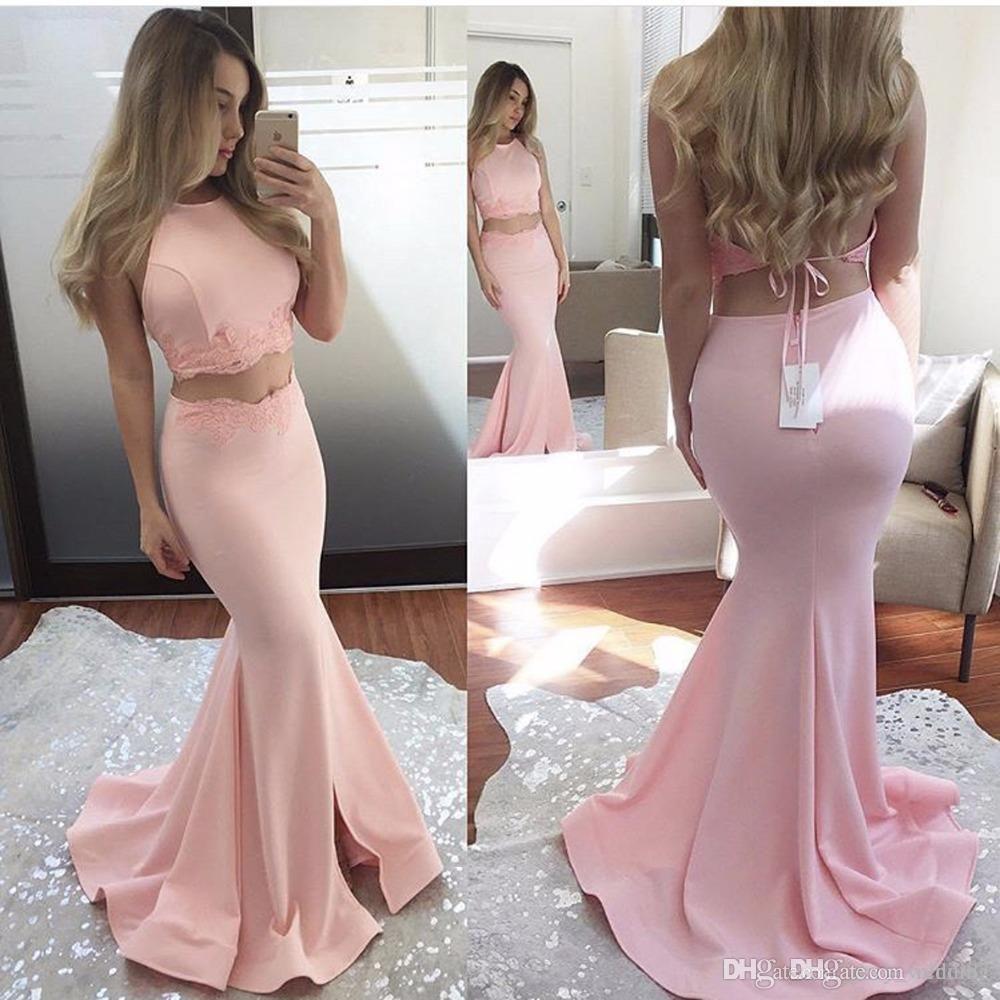 2017 Fashion Halter Abiti da sera Rosa O Collo Appliqued Senza maniche Fessura laterale Due pezzi Prom Dresses sirena Abiti da sera