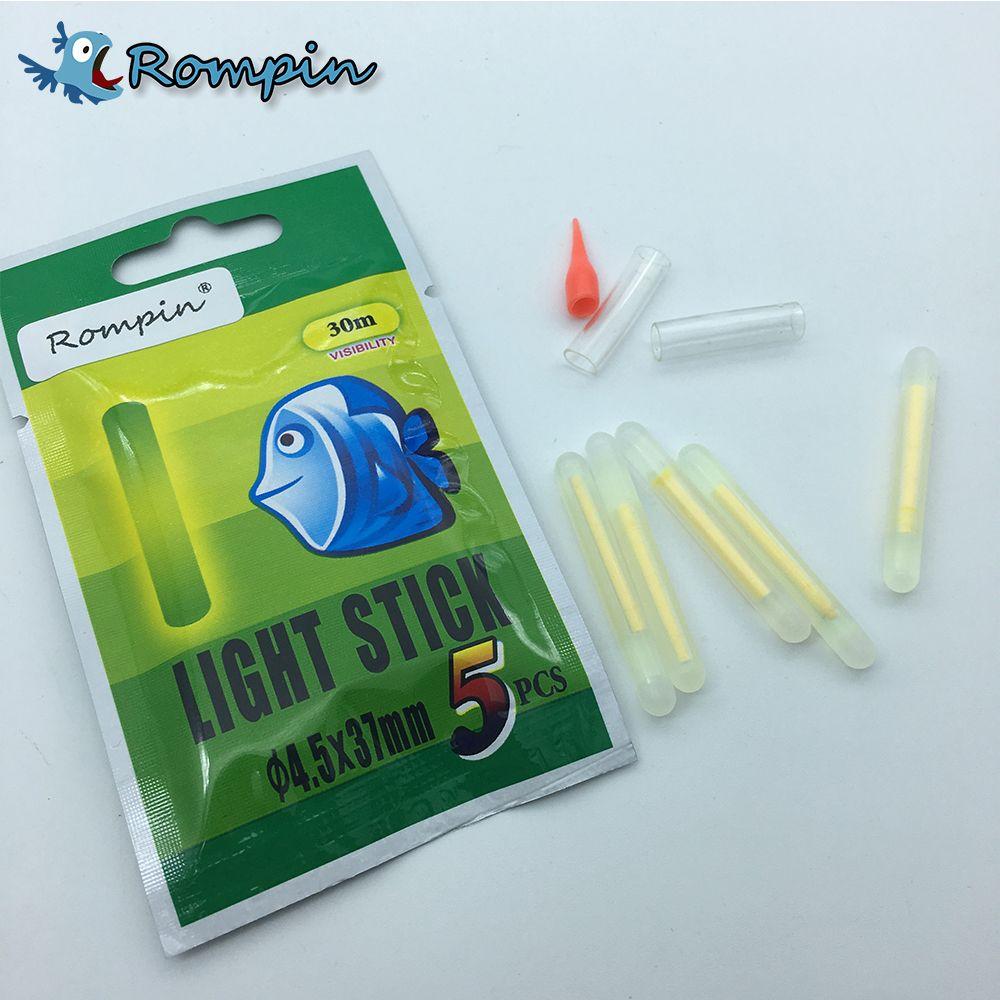 Rompin 25pcs / 5bag Corcho de pesca palo de luz caña de pescar cebo Tip alarma Noche pescado Bobber del palillo del resplandor visible 3.0x25mm 4.5 * 37mm