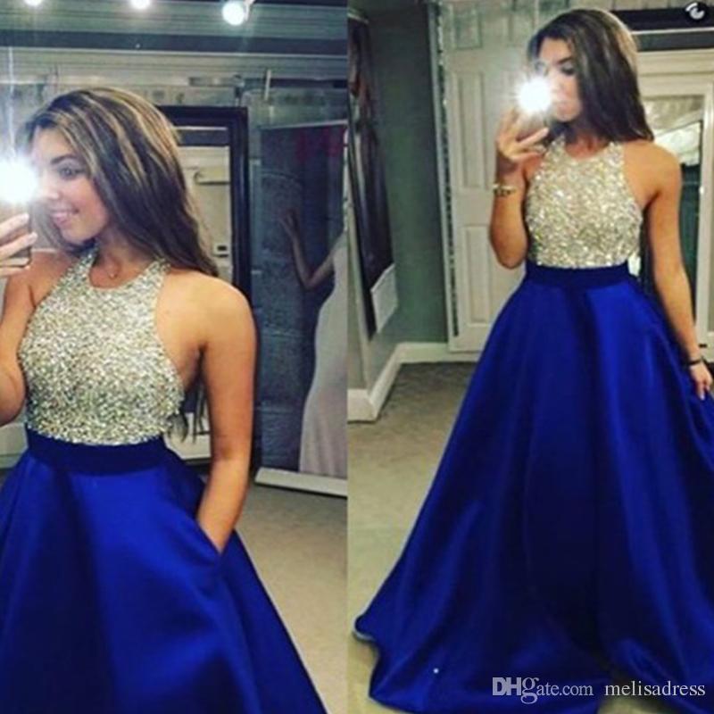 Großhandel Fashion Royal Blue Lange Prom Kleider 2018 Shine Perlen ...