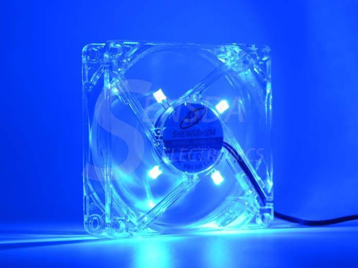 pc computer fan 80mm with 4ea led 8025 8cm silent DC 12V LED luminous chassis molex 4D plug axial fan