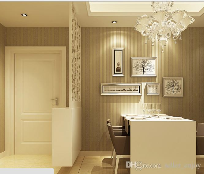 he new non woven flocking striped wallpaper
