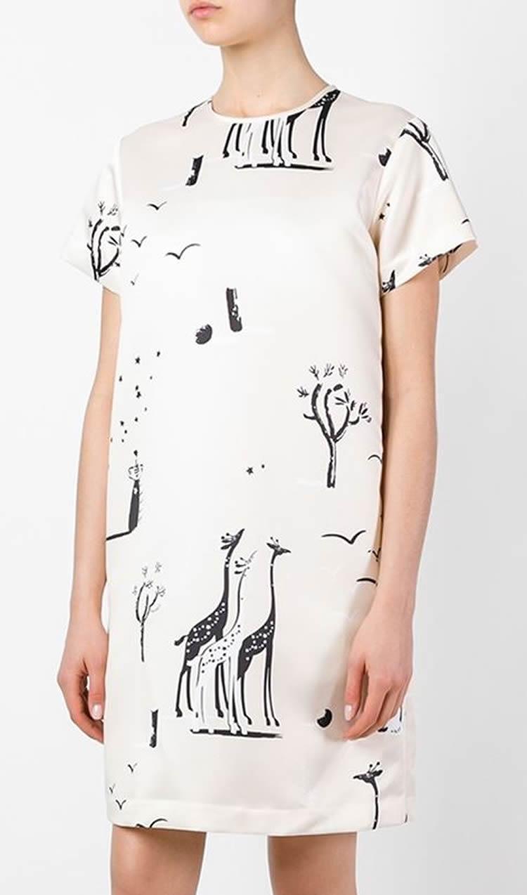 패션 인쇄 여성 쉬 드레스 짧은 소매 캐주얼 드레스 064A617