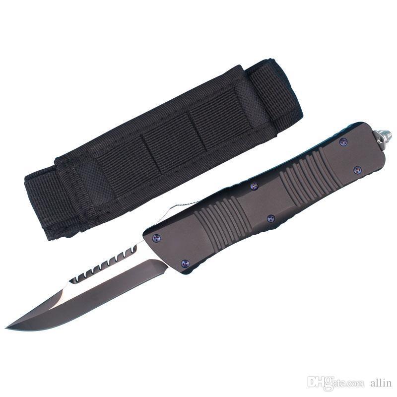 Новое прибытие Bowie лезвия Auto Тактический нож D2 Черный Клинок T6061 Ручка Открытый кемпинга выживания ножи с тактическими нейлоновая сумка