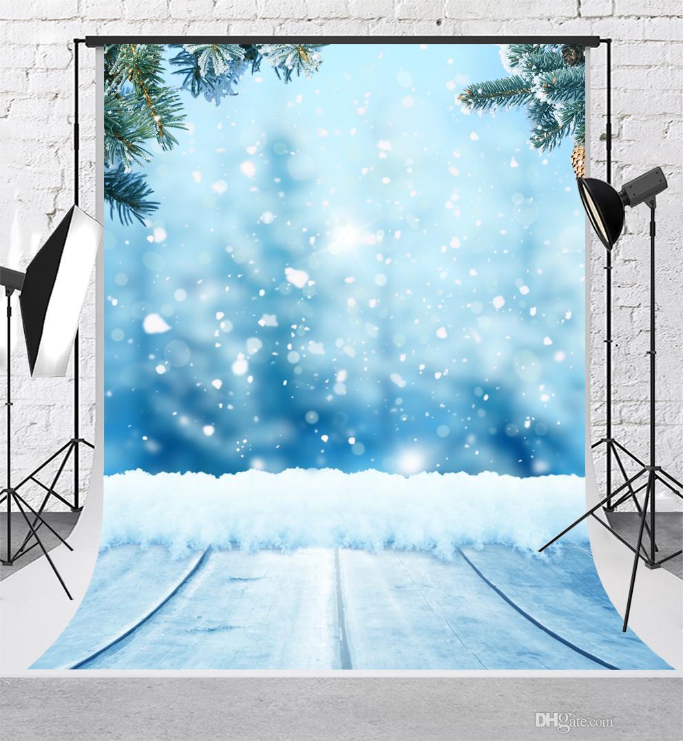 Digitaldruck Winter Fotografie Hintergründe 5x7ft Bokeh Baum Kulissen Holzboden Hintergrund Schießen für Kinder Requisiten