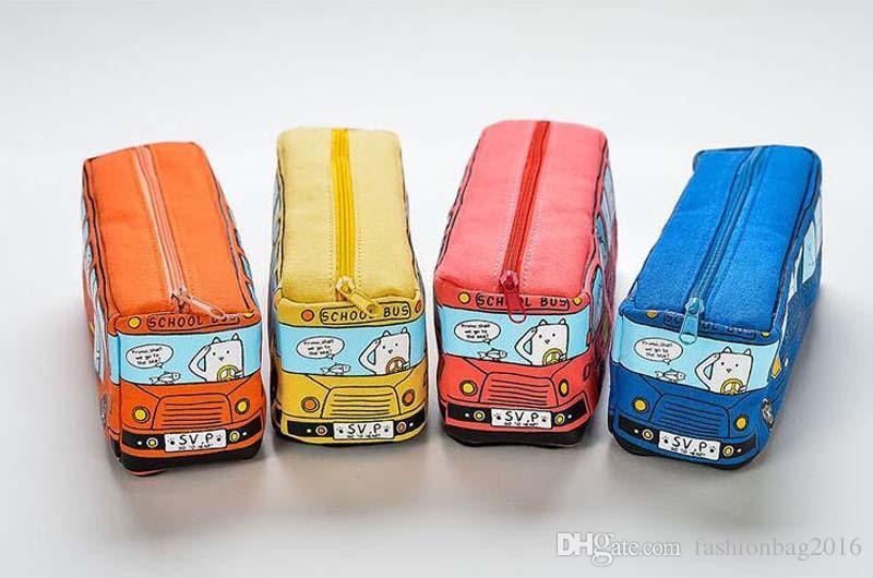 100 sztuk dzieci ołówek Case Cartoon Autobus Samochodowy Torba Torba Cute Animals Canvas Ołówek Torby Dla Chłopców Dziewcząt Szkolne