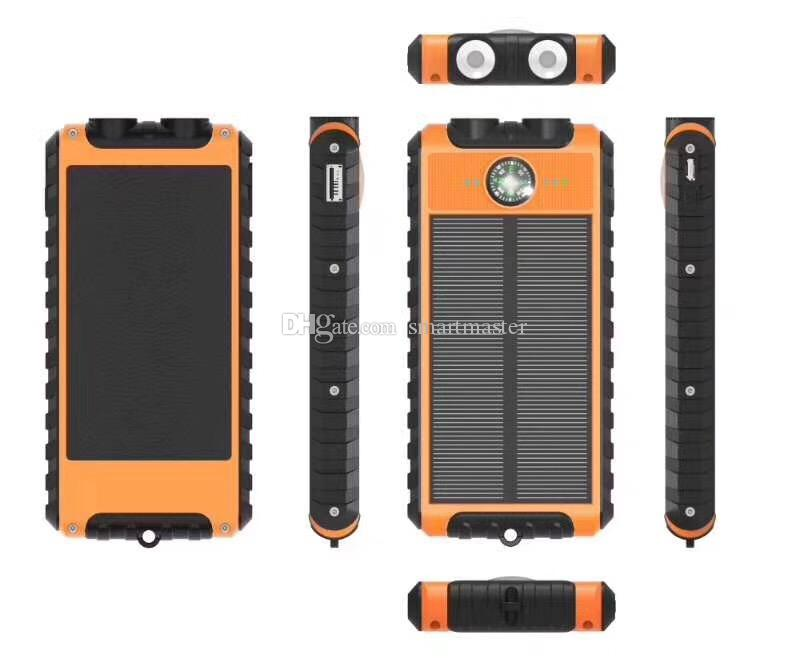 Portable 8000 mah Waterproof Solar Power Bank Shockproof Charger for Samsung S8 Note 8 Any Phone