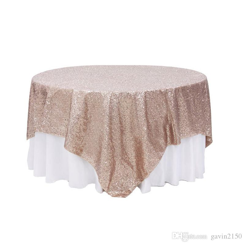 Free Shipping Hot Selling Square 90*132inch Champagne Sequin TableCloth Wedding Decoration Sequin Table Overlay For Party Banquet Home
