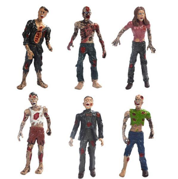 6pcs/set The Walking Dead Zombies Terror Corpse PVC Action Figure Collectible Model Toy 10Cm Free Shipping