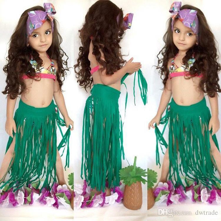 Prettybaby أطفال بنات بيكيني ملابس السباحة الشمس أعلى + سروال + شرابة تنورة 3 قطع مجموعة الدعاوى الفتيات mermaid حمام السباحة ارتداء Pt0390 #