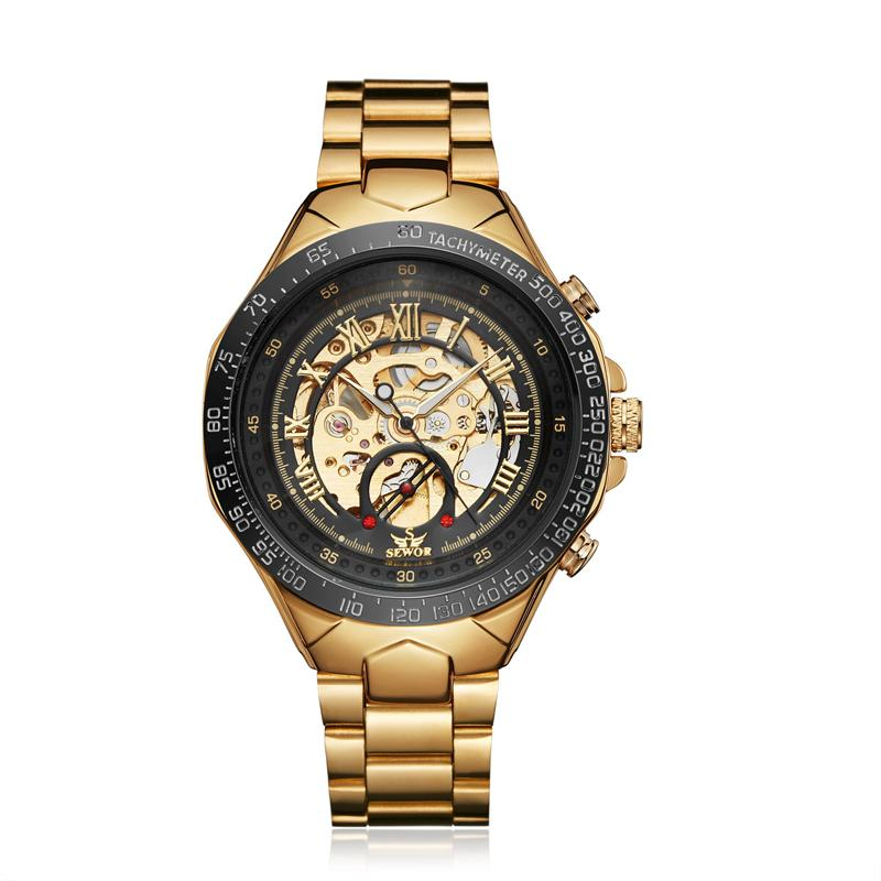 SEWOR Men Watch Mechanical Automatic Self-Wind Mens Mechanical Stainless Steel Band Luxury Man Watches Skeleton Clock S58