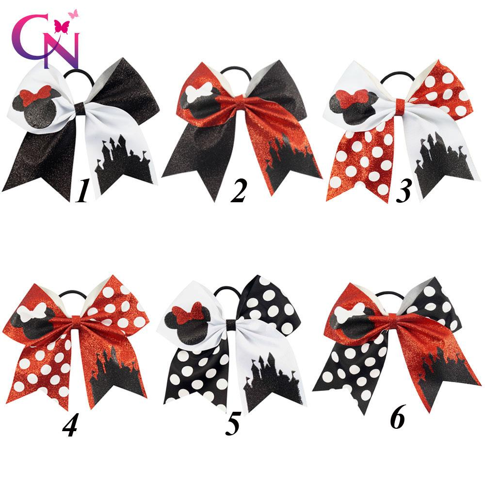 """12 Pcs /Lot 7 """" Fashion Glitter Cheer Bows with Elastic Hair Band for Girls Kids Handmade Large Dots Bling Hair Bows Hair Accessories"""