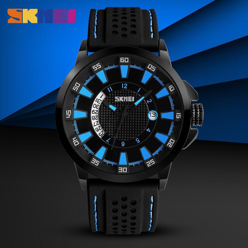 SKMEI мужская мода часы 30 м Водонепроницаемый Полный календарь кварцевые часы силиконовый ремешок спортивные наручные часы Relogio Masculino 9152