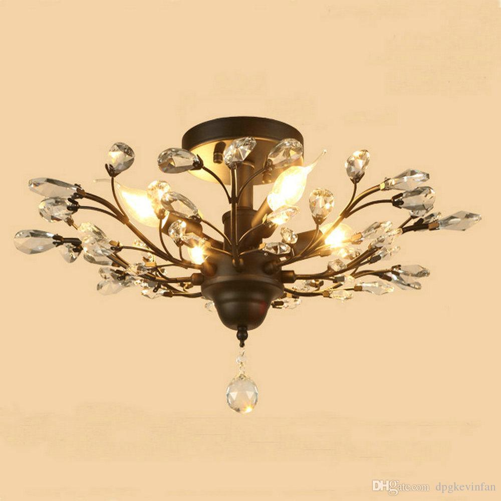 Moderne Glanz Klarglas Led Deckenleuchten Schwarz Leuchten Kristalleisen Deckenleuchte für Wohnzimmer Schlafzimmer Küche Heimbeleuchtung