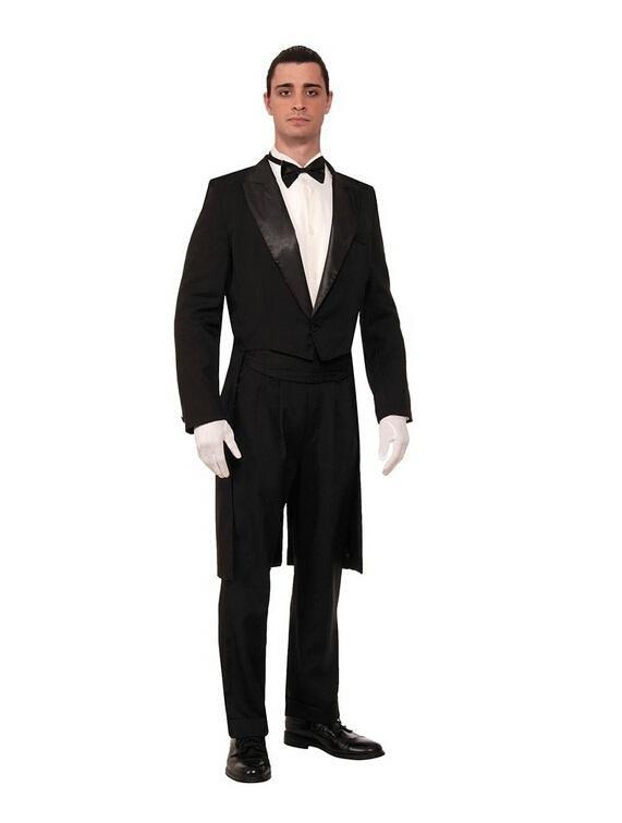 Gentleman uomo occasione formale a coda di rondine moda puro colore un pulsante mens abiti da sposa smoking uomo due pezzi (giacca + pantaloni + papillon)