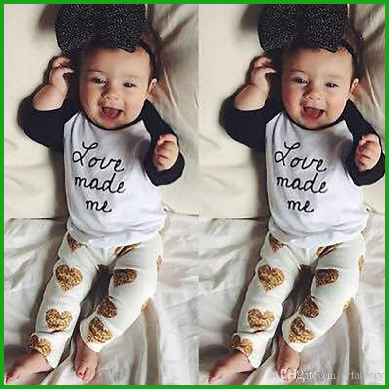 love heart letters printed baby girls set spring summer children clothing suits kids lovely black white long t-shirts tops yellow pants
