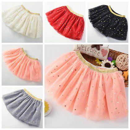 b4c6f83cc0b7c 2019 2017 Gold Star Sequin Polka Dot Skirts Baby Tutu Skirt Girls Tulle  Skirts Kids Christmas Clothing Glitter Pettiskirt Toddler Tutus Wholesale  From ...
