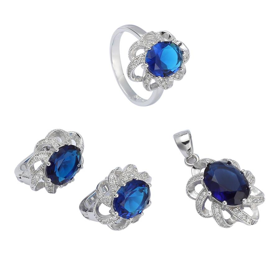 925 ayar gümüş promosyon kalp seti (yüzük / küpe / kolye) Noble Cömert S-3701set ssz # 6 7 8 9 Koyu Mavi Kübik Zirkonya Yeni liste