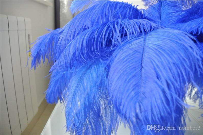 Commercio all'ingrosso 100 pz 12-14 pollice royal blue piume di struzzo plumes per centrotavola matrimonio decoraction rifornimento del partito decorazione evento di festa