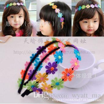 Spitzenbabyhaarschmuck Baby-Blumen reine manuelle Haar-Band-Kinder Haarschmuck-Festzug Kleine Mädchen Kopfbedeckungen