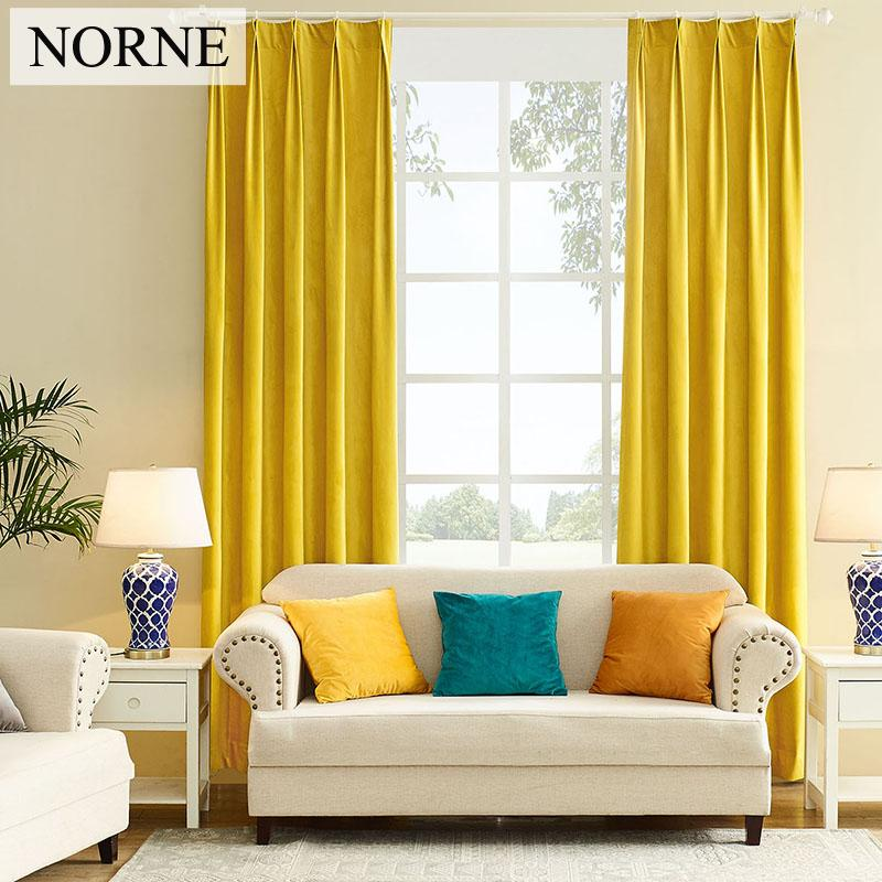 NORNE Modern Solid Color Matte Velvet Blackout curtain Super Soft Window Curtains Drapes Shades for Theater Living Room Bedroom Curtains
