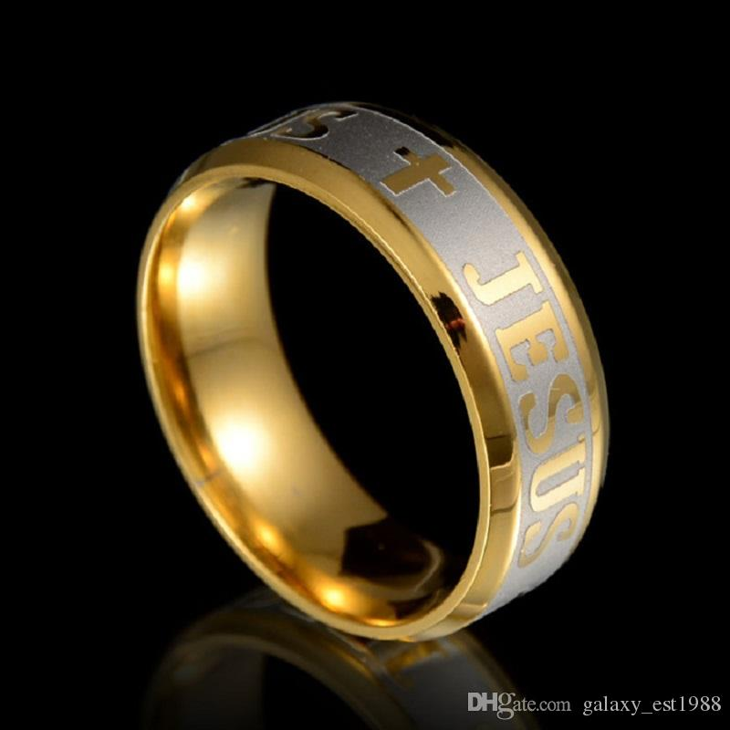 Commercio all'ingrosso 36pcs Mens Gesù Cristo Gold Plating Incisione di alta qualità all'interno anelli in acciaio inox lucido in acciaio inox