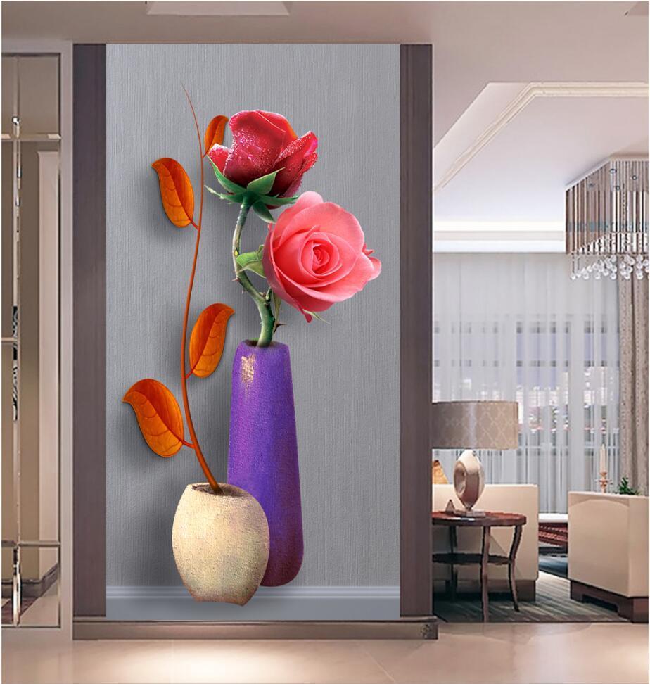 Papier Peint Entree Moderne acheter personnaliser hd photo 3d papier peint vase moderne rose fleur  salon chambre entrée couloir toile de fond porte décor papiers muraux de  45,84