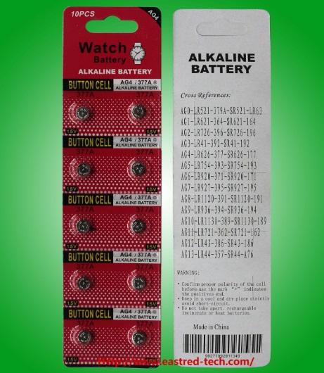 500cards/Lot Mercury free AG4 LR626 SR626 377A 1.5V Button Cell Battery Watch Battery 10pcs per Card