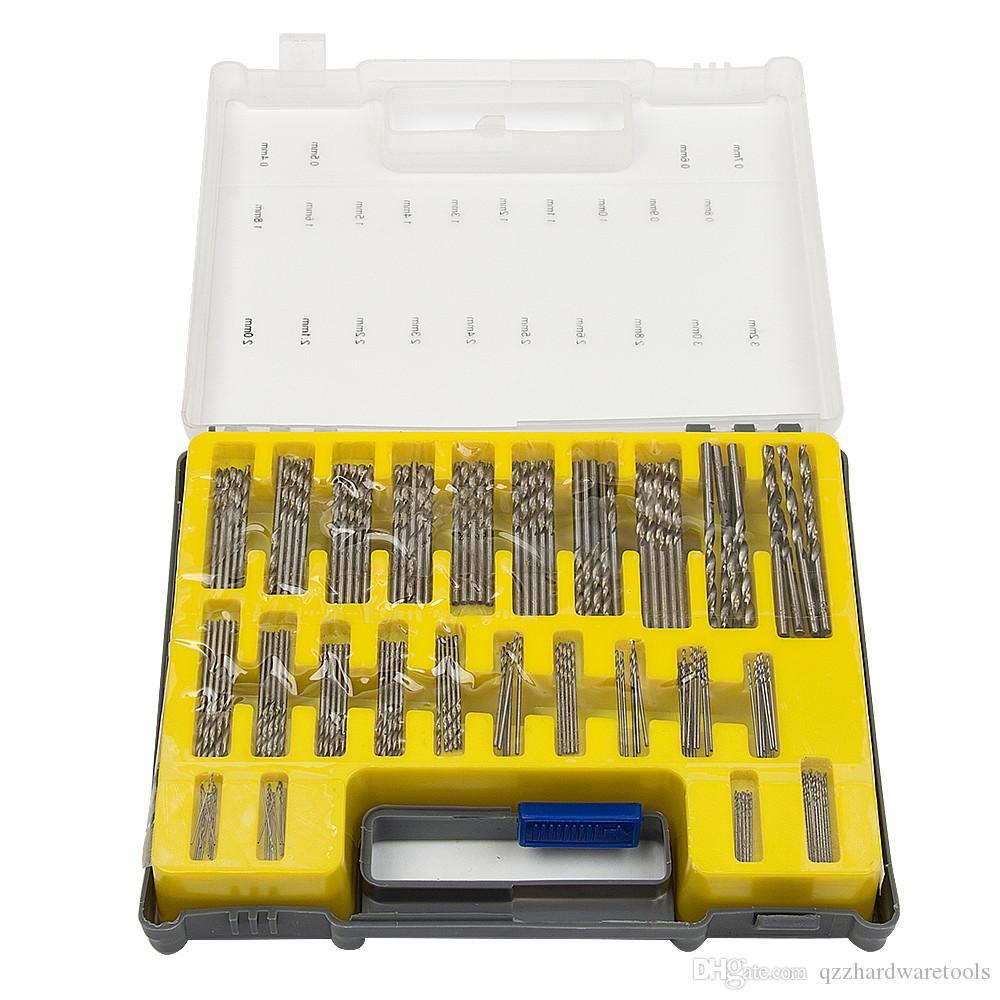 150 unids Twist Drill HSS Mini Caja de Plástico Estuche de Transporte 0.4-3.2mm Herramienta de Taladro Twist Twist Drill Bits Herramientas de Mano Kits Conjuntos