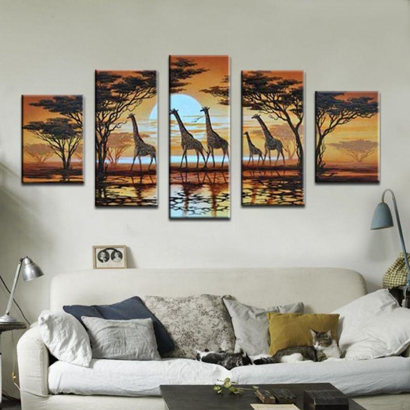 Handgemalte moderne abstrakte Ölgemälde Giraffe auf Segeltuch 5 PC / Satz Kunst Wanddekoration-Ausgangs-Tierbilder