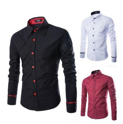 New arrival Man Shirts Long Sleeve plaid line Brithish Dress Shirts Men Clothing Patchwork Turn-down Autumn Plus Size M-3XL drop shipping