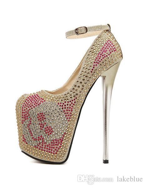 Envío gratis 2016 señoras de cuero súper 19 cm sandalias de tacón alto 9 cm plataforma tacones de plata sexy diamond dance party Rolado Hebilla Vestido 35-43