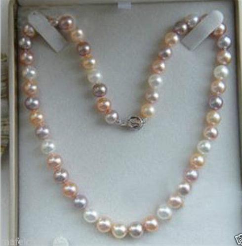 7-8mm natürliches weißes Rosa Lila Mischfarbe Akoya Perlenkette 18inch 925 Silber Verschluss